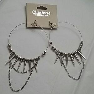 Charlotte Accessories Spiked Hoop Earrings